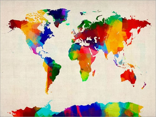 rolled paint map of the world map art 500 375 Espacio Pinterest