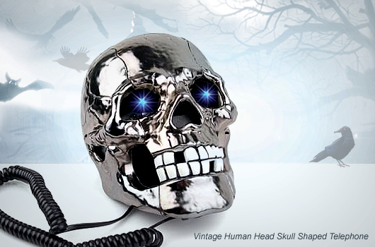 Human Head Skull Shaped Telephone