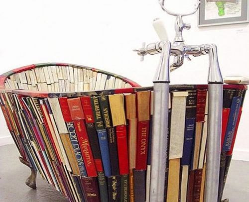 Vanessa Mancini's 'Bath of Knowledge' Tub Made of Books